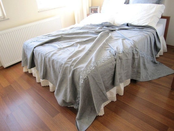 Solid Plain Grey Gray Linen Bed Spread Full Or Twin Bedspread