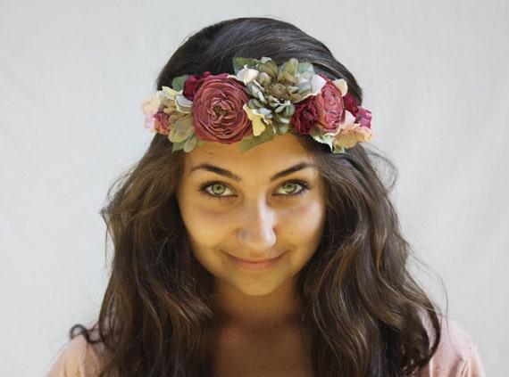 Vintage Flower Crown - Late Summer Romantic Deep Mauve Pink and Teal Bridal Hair Wreath - Bohemian Wedding