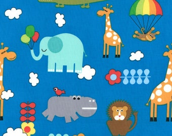 "SALE LAST Piece 1 Yard 19"" of Bungle Jungle Blue Animals by Tim and Beck for Moda"