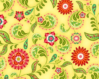 1 Yard of Piccadilly Lane Yellow and Red Daisy Swirl by Brenda Pinnick for Henry Glass