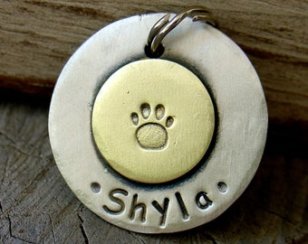 Dog ID tag- personalized mixed metal tag Sealed with a Paw