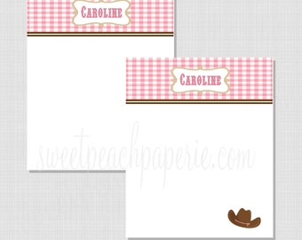 Cowgirl Collection: Personalized Flat Thank You Notecard