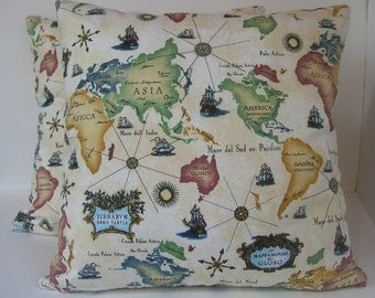 """Two (2) Decorative Vintage World Map Fabric Pillow Covers  - Made to Fit 18"""" x 18"""""""