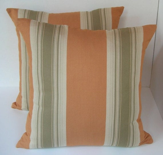 "Two (2) Decorative Pumpkin, Sage and Beige Stripe Pillow Covers to Fit 18"" x 18"" Pillow Insert"