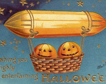 Halloween Card   Zeppelin Air Ship Pumpkins JOLs   Repro Ellen Clapsaddle Notecard