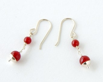 Rich Red Carnelian and Sterling Silver Dangle Earrings, Bohemian Gypsy Earrings, Long Modern Zen Earrings, Boho Shabby Chic, Elven Elvish