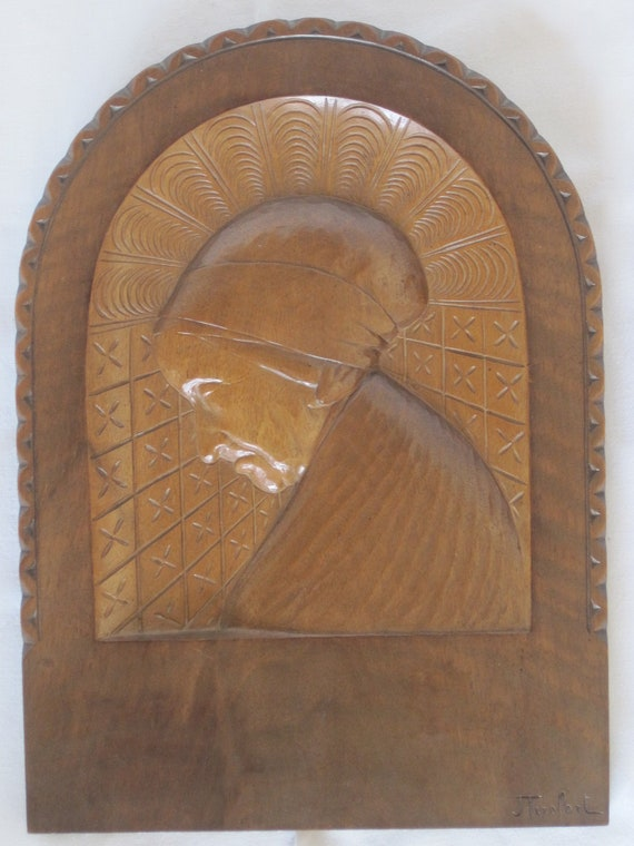 Reserved for JR Merci - Fabulous Vintage French Signed Carved Wood Portrait Panel Of An Old Lady
