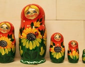 Sale Sale Nesting Dolls Matryoshka nesting dolls with Sunflowers and ladybug set of 5