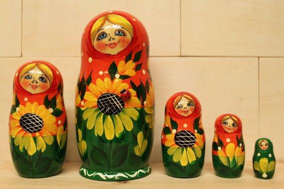 Sale Sale Nesting Dolls Matryoshka nesting dolls with Sunflowers and ladybug set of 5