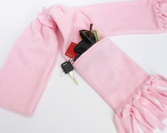 Zipper Pocket Fleece Scarf in Pink with Matching Fleece Scarf Ring with or without fringe