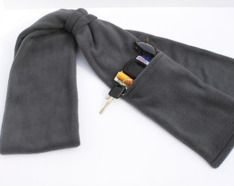 Zipper Pocket Fleece Scarf for Men and Women in Gray with or without fringe