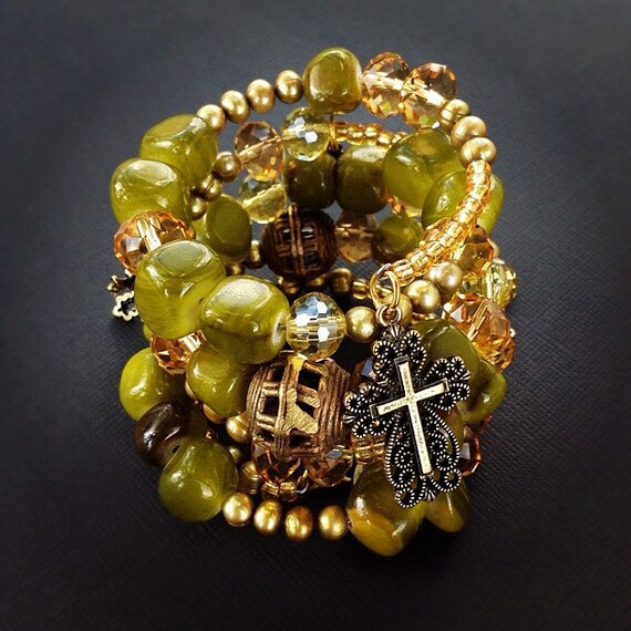 Cross Bracelet Olive Green Stack Bracelet with Jade Stones, Freshwater Pearls, African Brass Beads and Cross Charms.