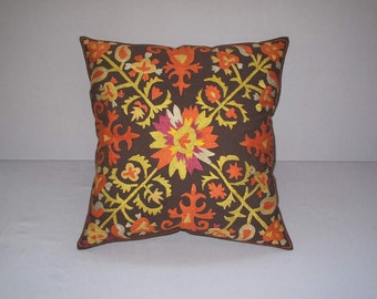 Beautiful  handmade super quality stitch mystical lakay flowers pattern Suzani Pillow Cover cushion  original silk  19.5 x 19.5 inch