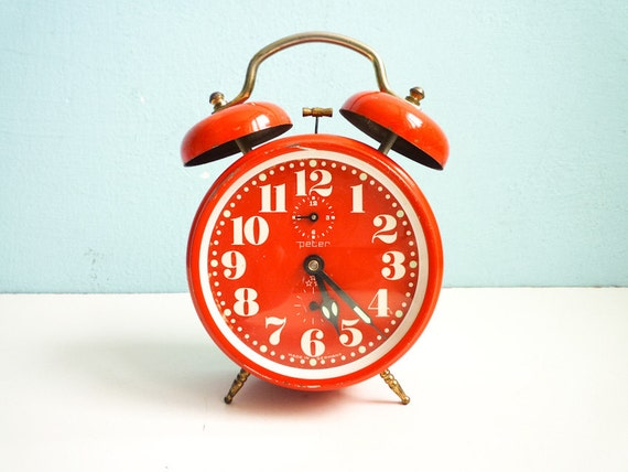 Vintage Red Orange Alarm Clock twin bells mechanical manual