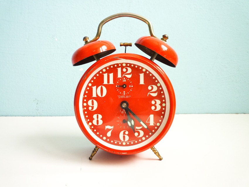 Vintage Red Orange Alarm Clock Twin Bells Mechanical Manual