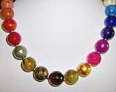 GEMSTONE necklace 19 inch designer choker with rainbow of 16mm sized gemstones