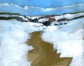 Original landscape painting semi-abstract - Winter hills