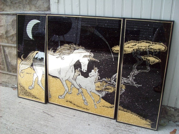 RESERVED for KRISTY Magical Metallic Gold Sparkle Unicorn Mirrors