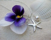 Bridesmaid Jewelry White Wedding Necklaces with Starfish Charm Beach Destination Wedding Jewelry