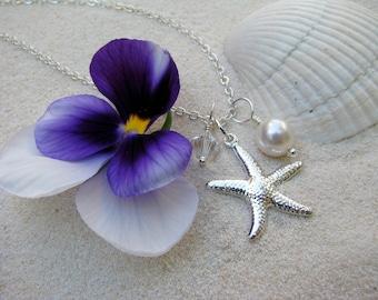 Bridesmaid Jewelry White Wedding Necklaces with Starfish Charm Beach Destination Wedding Jewelry