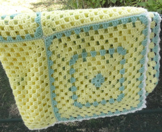 Afghan in Yellow and light green -Medium
