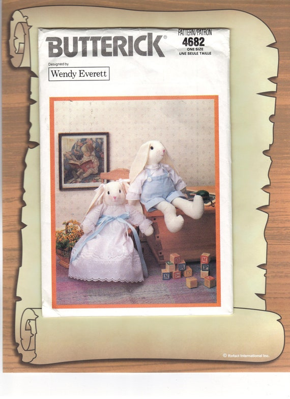 Victorian Rabbit Bunnies Stuffed Animals with Clothes Butterick Sewing Pattern 4682