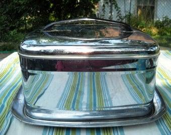 vintage cake holder tray aluminum 12x12