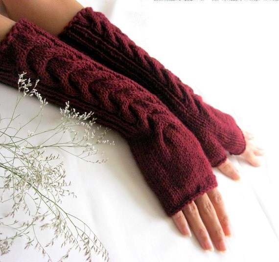 Long Burgundy Fingerless Gloves with a cable