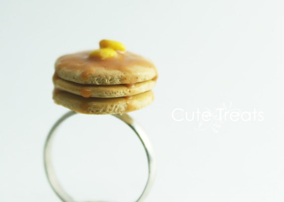 Miniature Food Jewelry - Warm Buttermilk Pancakes (Rhodium Plated Adjustable Ring)