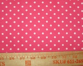 Small White Polka Dot on Hot Pink Cotton Jersey Knit FAbric
