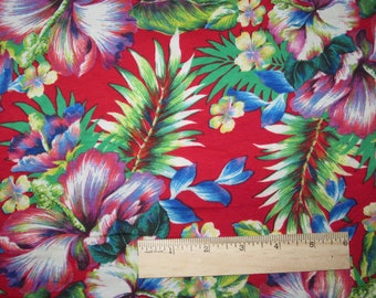 Rainbow Tropical Hibiscus Cotton Lycra Knit Fabric