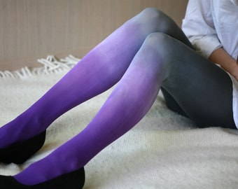 CLEARANCE SALE - Grey violet dyed tights size M-L