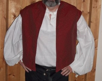 Elizabethan doublet in a rusty red stipple embroidered fabric