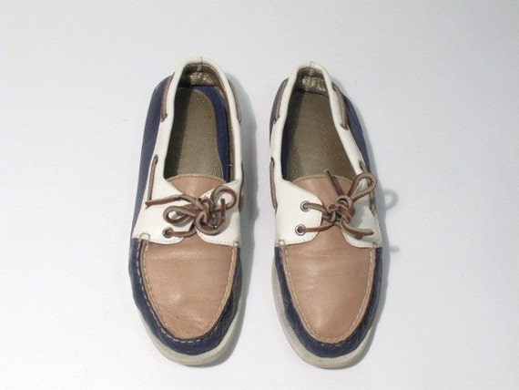 Multitoned Leather SPERRYS Boat Shoes. Size 9 or 10.