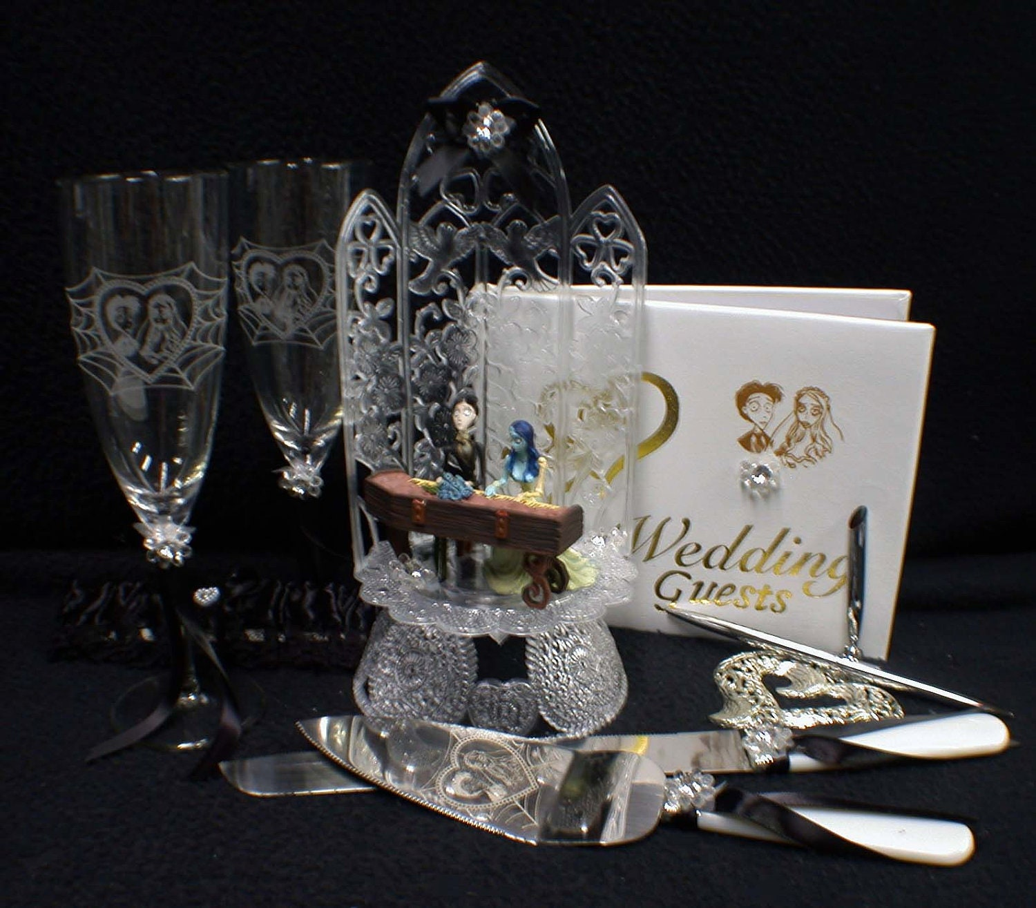gothic wedding cake knife corpse wedding cake topper lot glasses by yourcaketopper 14878
