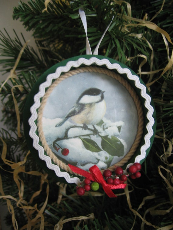 Upcycled Christmas Card and Ribbon Spool Ornament Bird Ornament