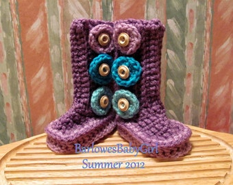 """New - Buggs - Crochet Baby Booties """"Zany Circles"""" in Orchard Plum, Lilac, and Turquoise"""