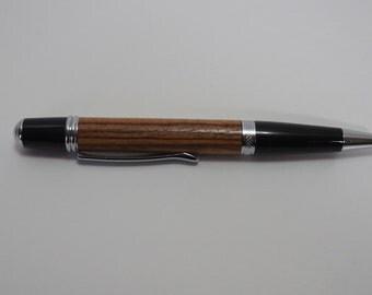 pen, ballpoint, zebrawood, chrome