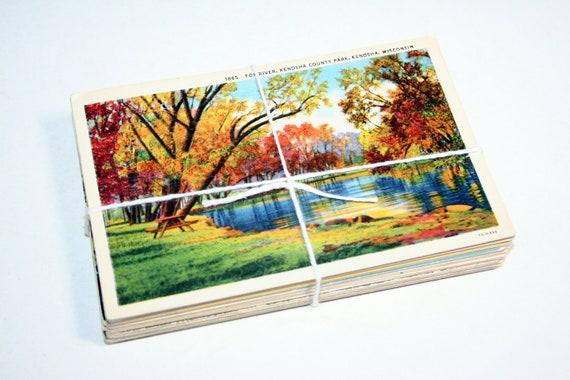 SALE 50 Vintage Used Wisconsin Postcards
