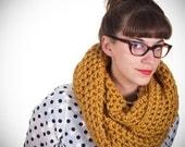 Oversized Mustard Hand Crocheted Circle Scarf