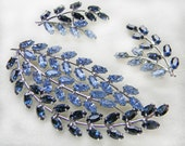Blue Sapphire Rhinestone Brooch Earrings Set Signed B David