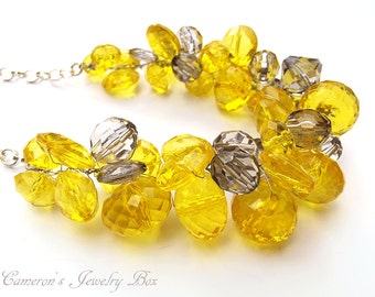 Yellow and Gray Chunky Necklace, Yellow Statement Necklace, Bridesmaid Necklace, Yellow and Gray Wedding Jewelry
