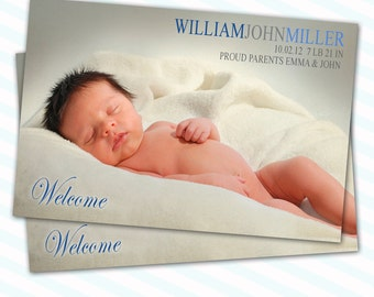 Baby Boy Birth Announcement Photo Card - Printable Personalized Card