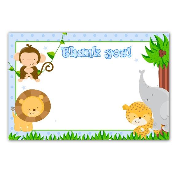 Tarjetas de invitación para baby shower niño animale de la selva ...