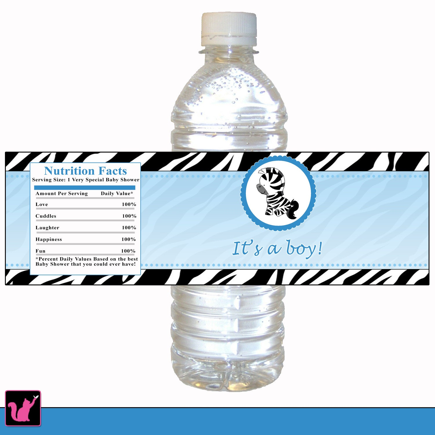 ON SALE Zebra Bottle Label Zebra Baby Shower Bottle Label