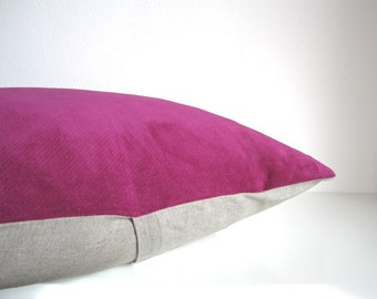 Pink velvet pillow - berry pink and natural linen, eco friendly home decor, velvet throw pillow / cushion