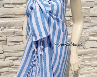 Turkishtowel-Soft-Best Quality Pure Organic Cotton,Hand Woven,Bath,Beach,Spa,Yoga,Travel Towel or Sarong-Turquoise and White  Stripes
