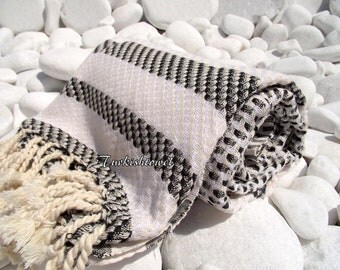 Turkishtowel-Highest Quality Pure Organic Cotton,Hand Woven,Bath,Beach,Spa,Yoga Towel or Sarong-Mathing-Natural Cream,White and Black