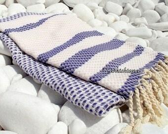 Turkishtowel-Highest Quality Pure Organic Cotton,Hand Woven,Bath,Beach,Spa,Yoga Towel or Sarong-Mathing-Natural Cream and Navy,Sailor Blue