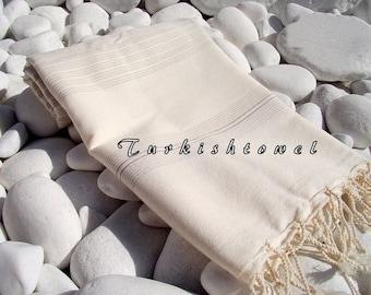 Turkishtowel-Very Soft-High Quality,Hand Woven,Bamboo,Cotton,Silk mixed,Bath,Beach Towel or Sarong-Light Begie Stripes on Natural Cream